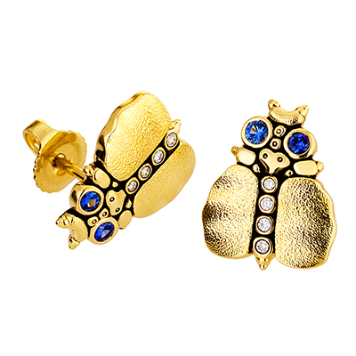Alex Sepkus 18K Sapphire and Diamond Entomology IV Earrings