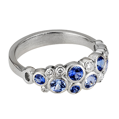 Alex Sepkus Platinum, Sapphire and Diamond Ring