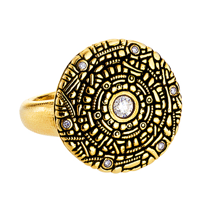 "Alex Sepkus 18K and Diamond ""Shield"" Ring"