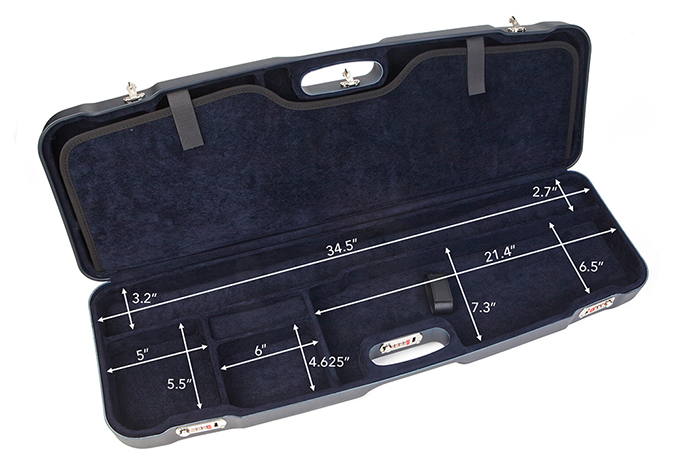 Negrini Two Gun Case Hunting Competition Guns Low to High Rib Blue Blue Interior 1622LR-2F/5135