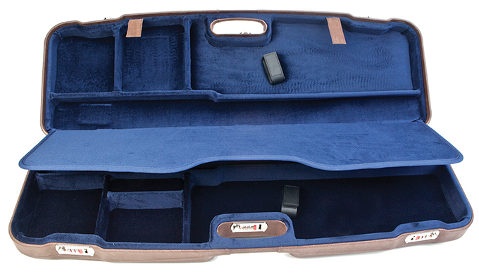 Negrini Two Gun Case Hunting Competition Guns Low to High Rib Brown Leather Outside Blue Interior 1622PL-2F/5137