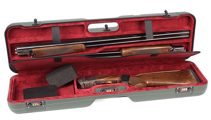Negrini One Gun - Two Barrels OU SXS Skeet Trap Hunting  ABS Green with Bordeaux interior. 1621BLR/5387